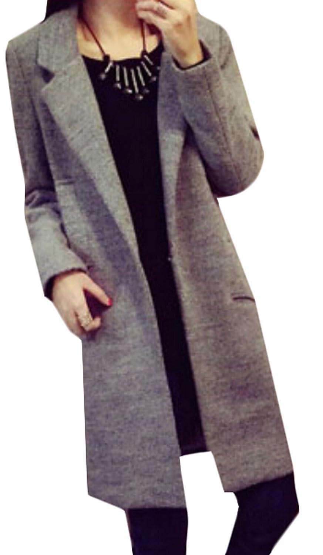 NQ Womens Winter Button Slim Wool Coat