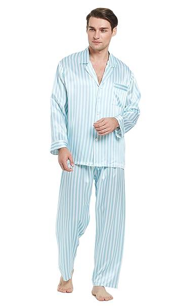 Lilysilk Conjunto de Pijamas Hombre Seda Raya Azul y Blanca 100% Seda Natural de 22