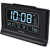 DreamSky Auto Set Digital Alarm Clock with USB Charging Port, 6.6 Inch Large Screen with Time/Date/Temperature Display, Full
