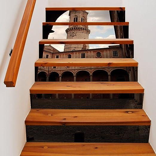 QTZS Creativo 3D Torre del Reloj Escalera DIY Renovación Hogar Decorativo Pegatinas De Pared,6pcs: Amazon.es: Hogar