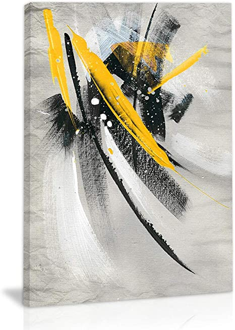 Amazon Com Modern Abstract Wall Art Decor Black White Yellow Mustard Artwork Canvas Painting Prints Pictures Home Decor For Kitchen Living Room Dining Room Posters Prints