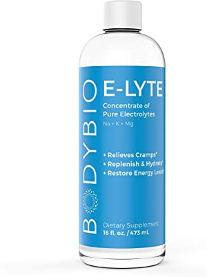 BodyBio - E-Lyte, Liquid Electrolyte - Sodium, Magnesium & Potassium for Rapid Natural Hydration - No Sugar or Additives - Keto Friendly Electrolyte for Rapid Dehydration Recovery - 16oz
