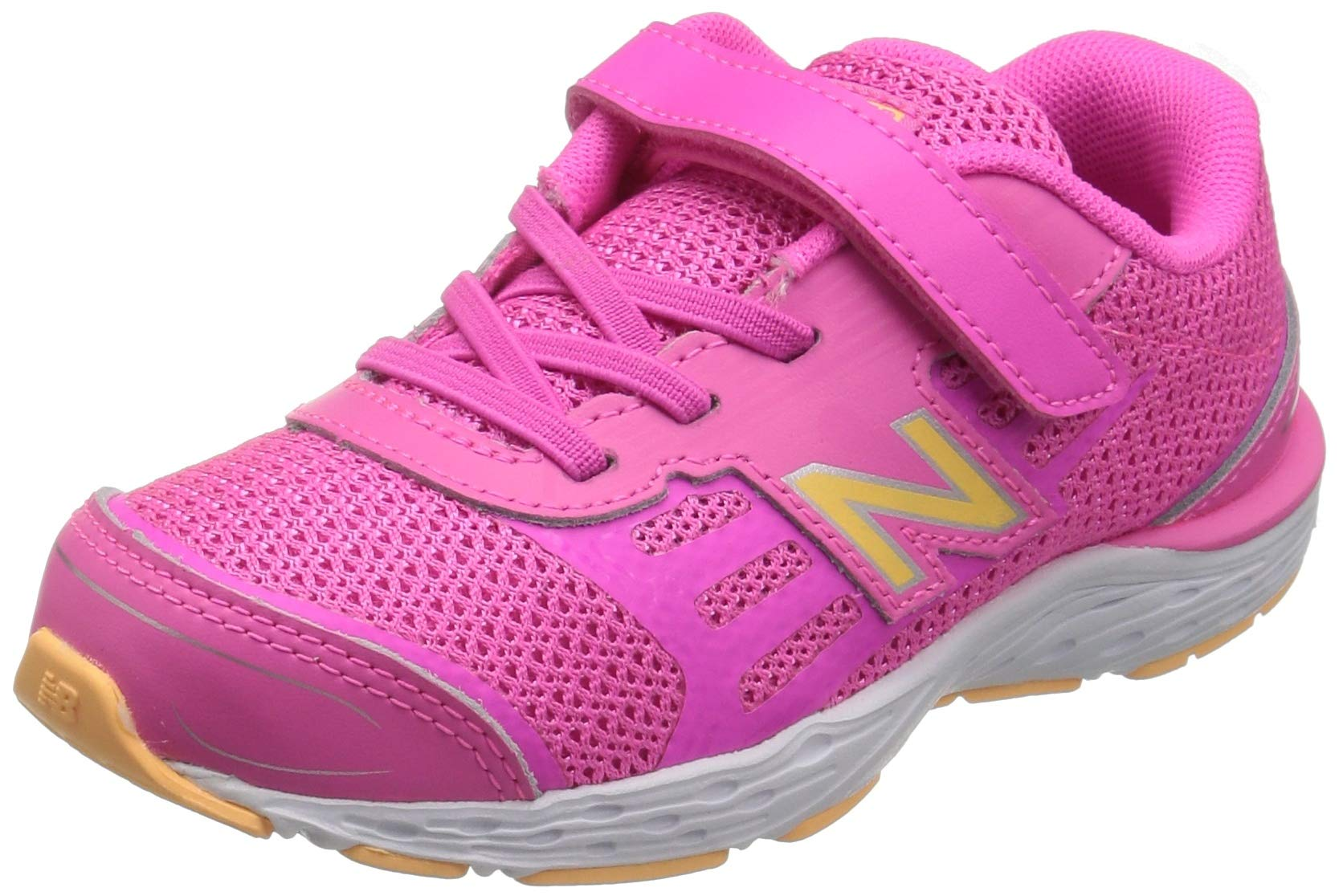New Balance Girls' 680v5 Hook and Loop Running Shoe, Light Peony/Light Mango, 2 M US Infant