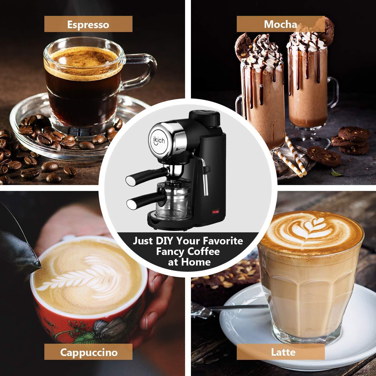 Espresso Machine, IKICH 3.5Bar 4Cup Espresso Coffee Maker with Spoon, Cappuccino Machine with Steam Milk Frother, Espresso Maker with Carafe, Black by IKICH