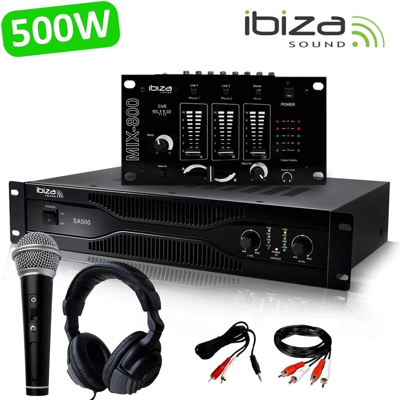 Pack sono DJ amplificador 500 W Ibiza Sound SA500 + mesa de ...