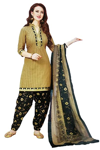 a1521481e3 Flowral Women's Printed Un-Stitch French Crepe Salwar Suit Material (7030  Beige_Free Size)