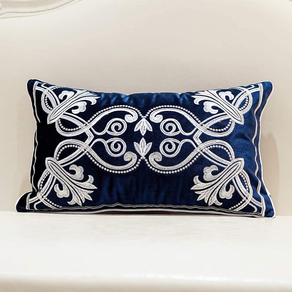 Avigers 12 x 20 Inch European Cushion Cover Luxury Velvet Home Decorative Embroidery Petunias Pillow Case Pillowcase for Sofa Chair Bedroom Living Room, Navy Blue