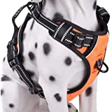 Dog Harness No Pull, Adjustable Vest Harness with Handle & 2 Leash Attachments, Reflective Harness for Dogs Walking…