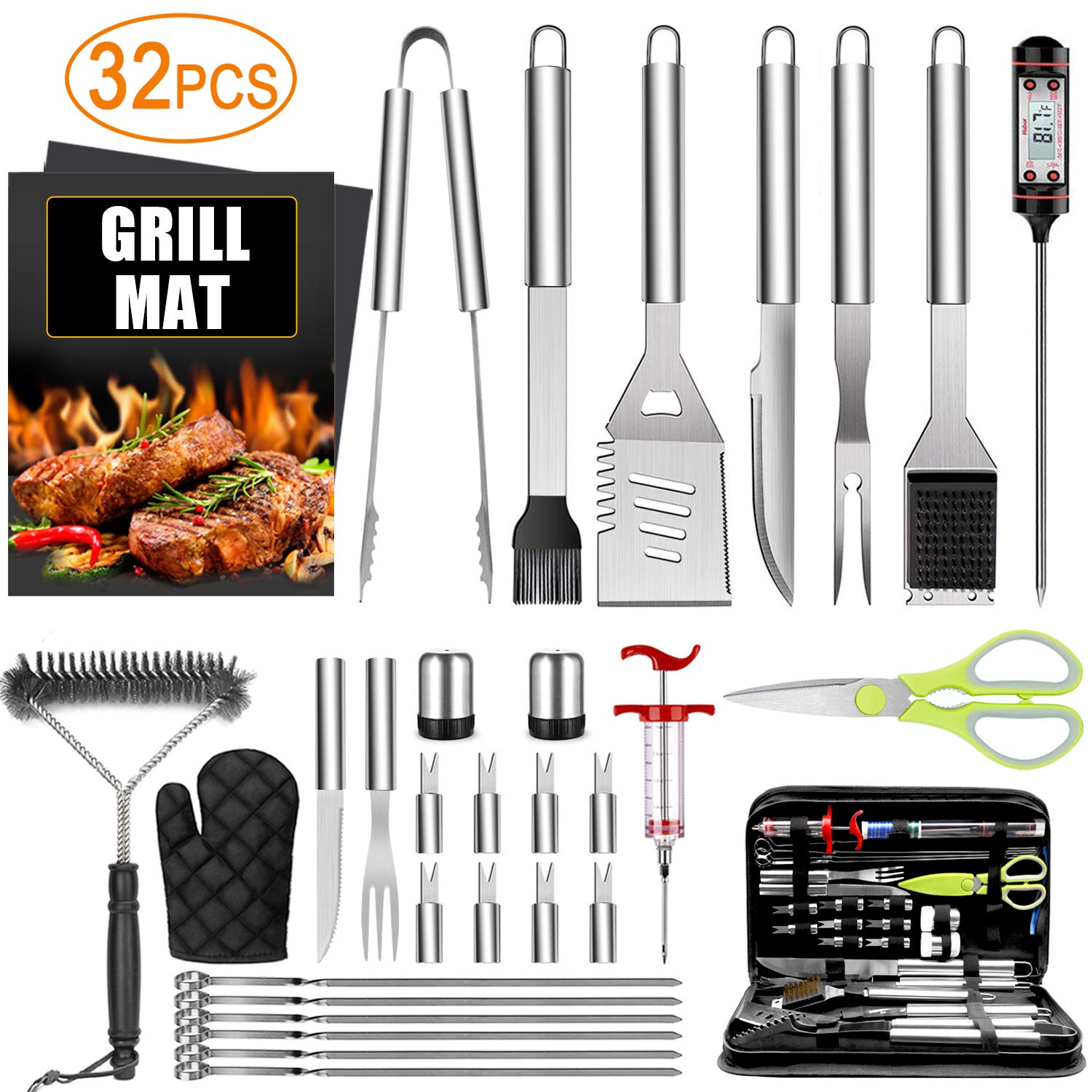 32PCS BBQ Grill Accessories Tools Set, Stainless Steel Grilling Tools with Carry Bag, Thermometer, Grill Mats for Camping Backyard Barbecue, Grill Tools Set for Men Women