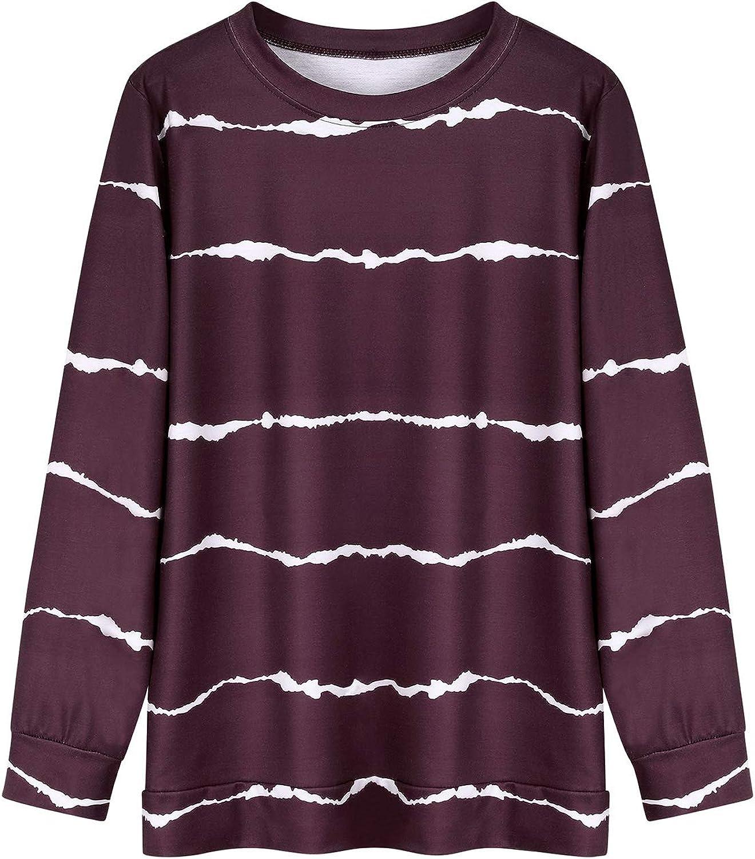 FEMLE Women Tie-dye Printed Stripe Long Sleeve Sweatshirts Sporty Pullover