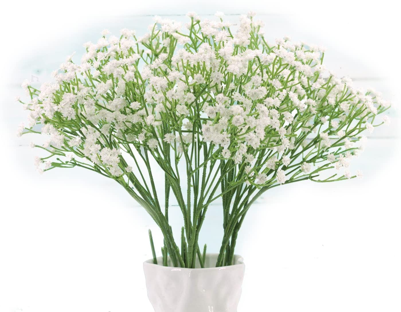 Baby Breath, Gypsophila Artificial Fake Silk Plants, Real Touch Flowers DIY Home Garden for Wedding Party Decoration, Idea Present for Thanksgiving, Halloween, Christmas, New Year (White), 10Pcs