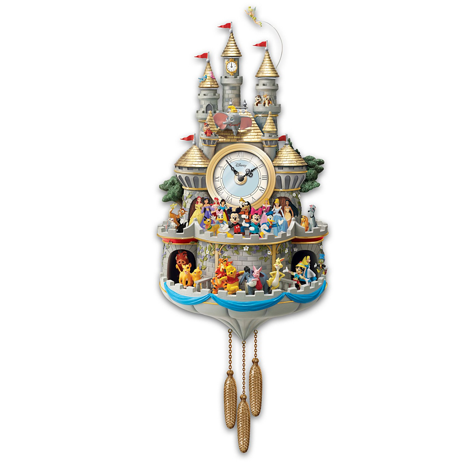 Amazon.com: Bradford Exchange Disney Cuckoo Clock Has 43 Characters ...