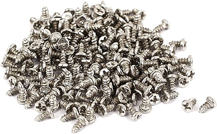 M1.5x4mm Thread Nickel Plated Phillips Round Head Self Tapping Screws 200pcs
