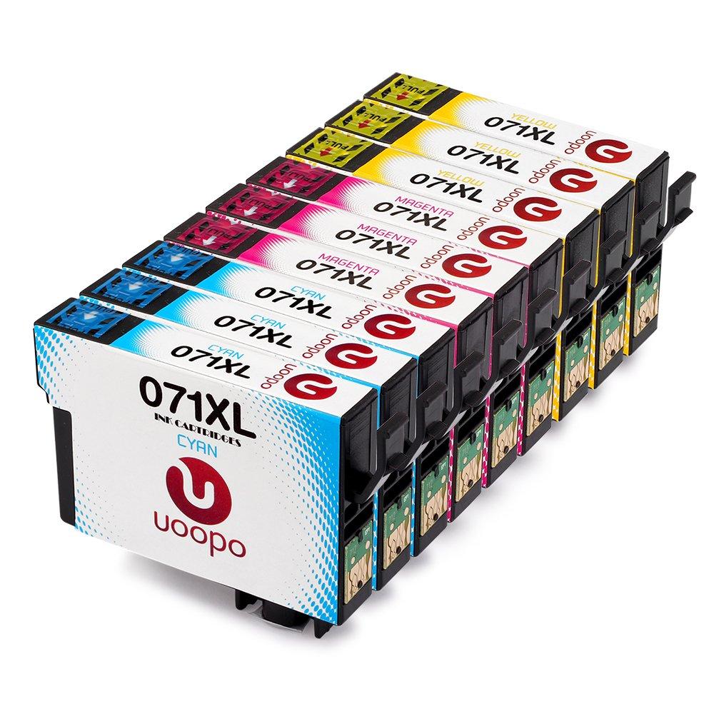 Uoopo Compatibile Sostituzione per Epson T0712 T0713 T0714 Cartucce d'Inchiostro multipack per Epson Stylus SX215DX7450D78 D92 D120 S20 S21 SX100 SX110 SX105 SX115 SX205 BX3450F BX600FW SX218 SX515W SX400 SX200 SX610FW Stampante, Confezione da 9( 3 Ciano