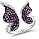 Santuzza 925 Sterling Silver Rose Gold Plated Butterfly Ring Created Pink Sapphire and Ruby