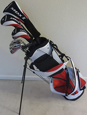 Mens Complete Golf Club Set Driver, Fairway Wood, Hybrid, Irons, Putter Stand Bag