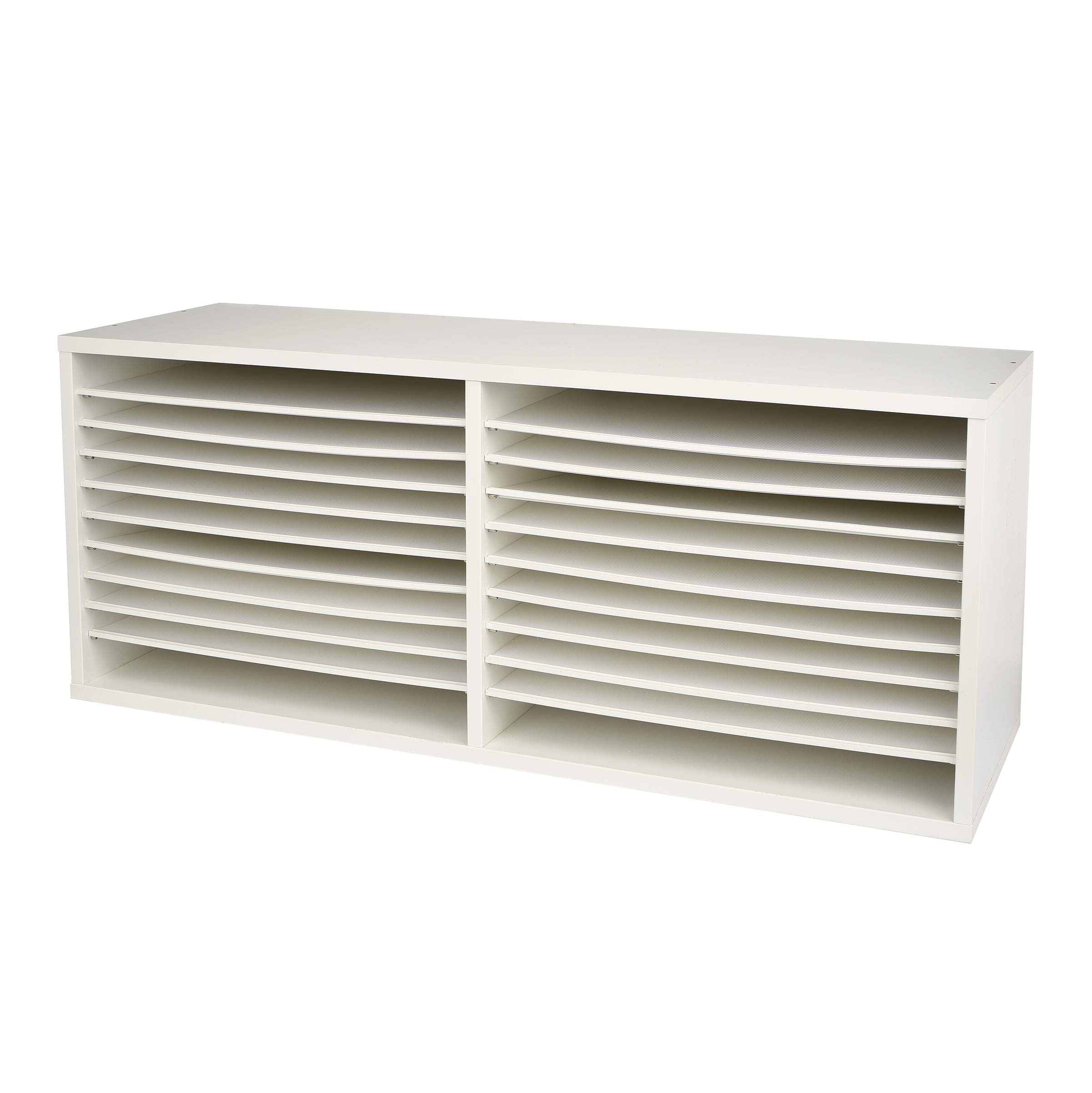 AdirOffice Extra-Wide Wooden Construction Paper Organizer - Durable Literature Storage w/Adjustable Compartment Shelves for Home Office & Classroom Papers (White)