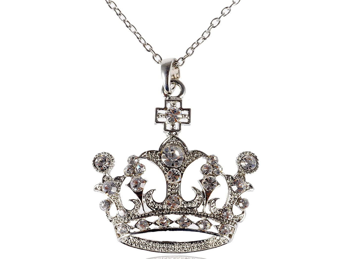 Alilang Silvery Tone Swarovski Crystal Rhinestone Queen Crown Princess Pendant Necklace