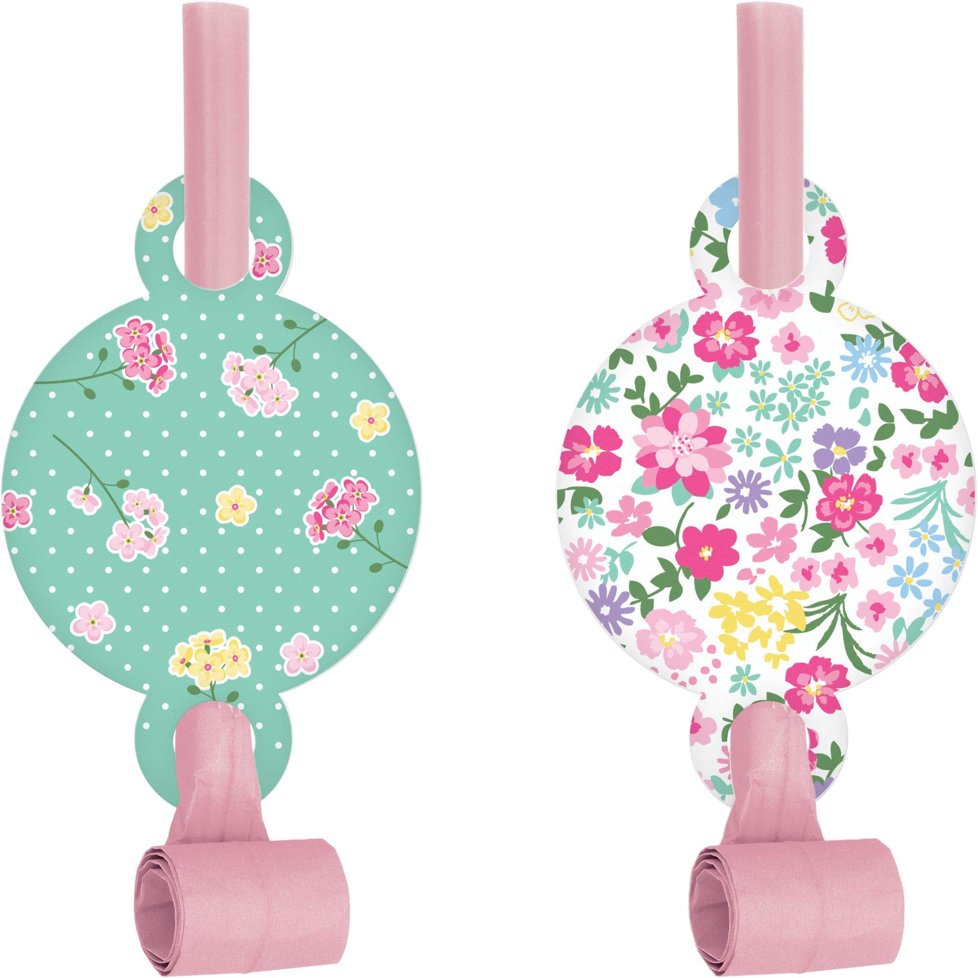 Club Pack of 48 Green and White Floral Tea Party Themed Blowout Party Noisemakers 5.25'' by Party Central