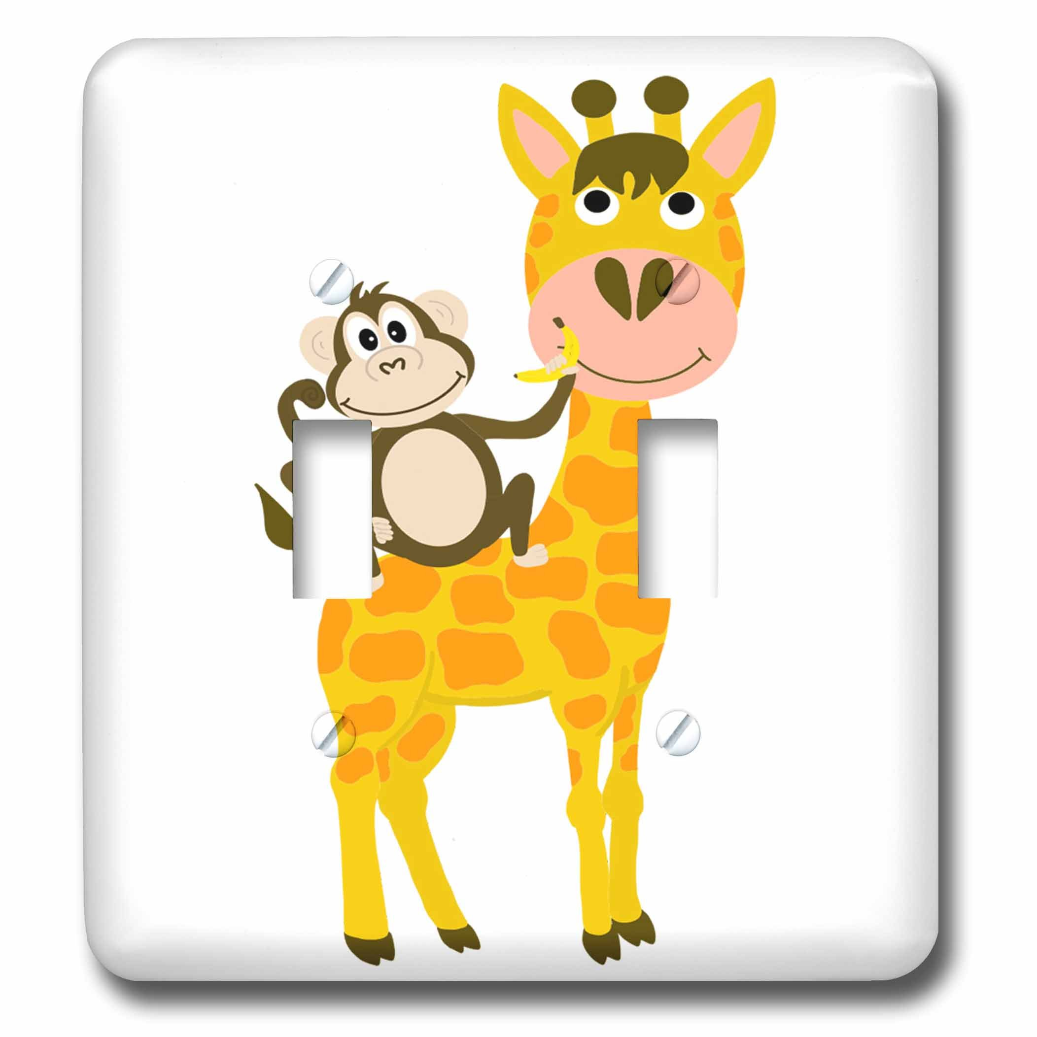 3dRose AllSouthernDesignTees - Zoo Animals - Cool fun monkey holding a banana and riding a funny giraffe - Light Switch Covers - double toggle switch (lsp_280218_2)