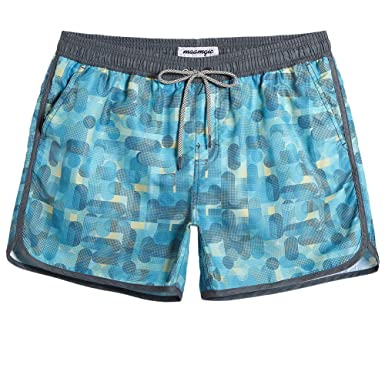 9920251286 Image Unavailable. Image not available for. Color: MaaMgic Mens Classic Swim  Trunks Retro ...
