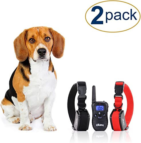 eXuby 2X Shock Collar for Small Dogs with 1 Remote and 4 Straps – 3 Modes Sound, Vibrate and Shock – Rechargeable Batteries Great for Training Two Dogs