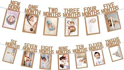 1st BIRTHDAY DECORATION PHOTO BANNER NEWBORN TO 12 MONTH MONTHLY BUNTING GARLAND