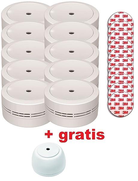 jeising Mini Detector de humo gs535 10 unidades color blanco con Magnético klebebepad Fijación magnética.