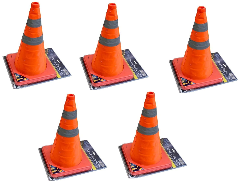 AQS Folding Pop-Up Multipurpose Emerging Traffic Cone Roadside Emergency Safety x 5
