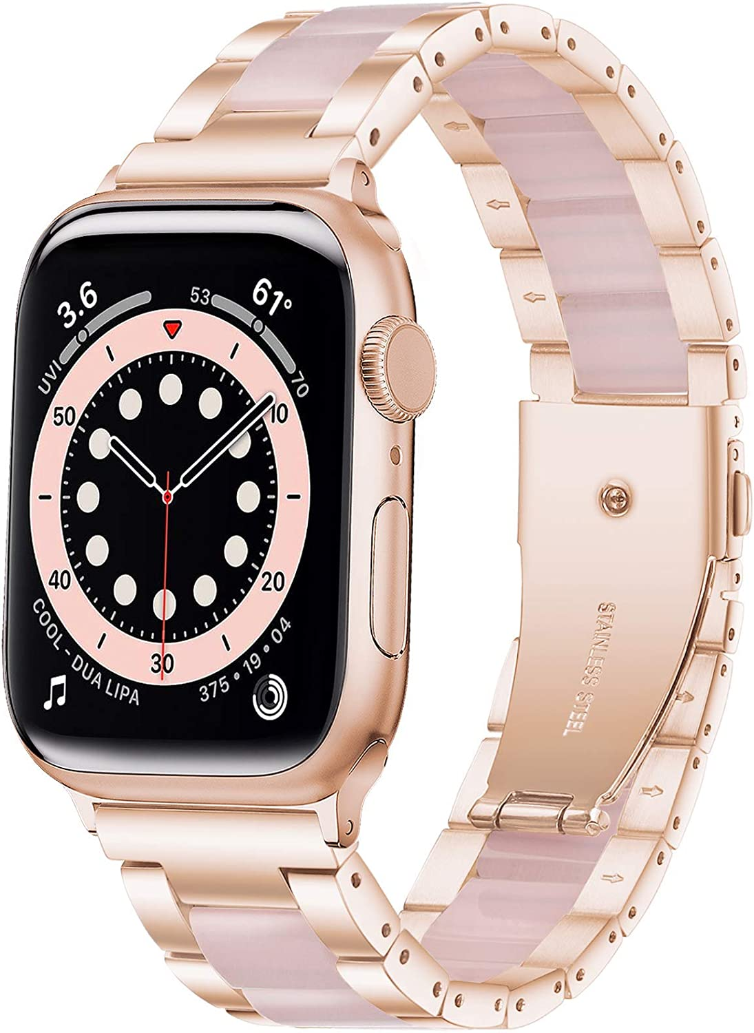 Wipalor Resin Stainless Steel Band Compatible with Apple Watch Band 38mm 40mm, Watch Bracelet Rose Gold for iWatch, Men and Women Replacement Band for Apple Watch Series 6 5 4 3 2 1 SE (Bright Pink)