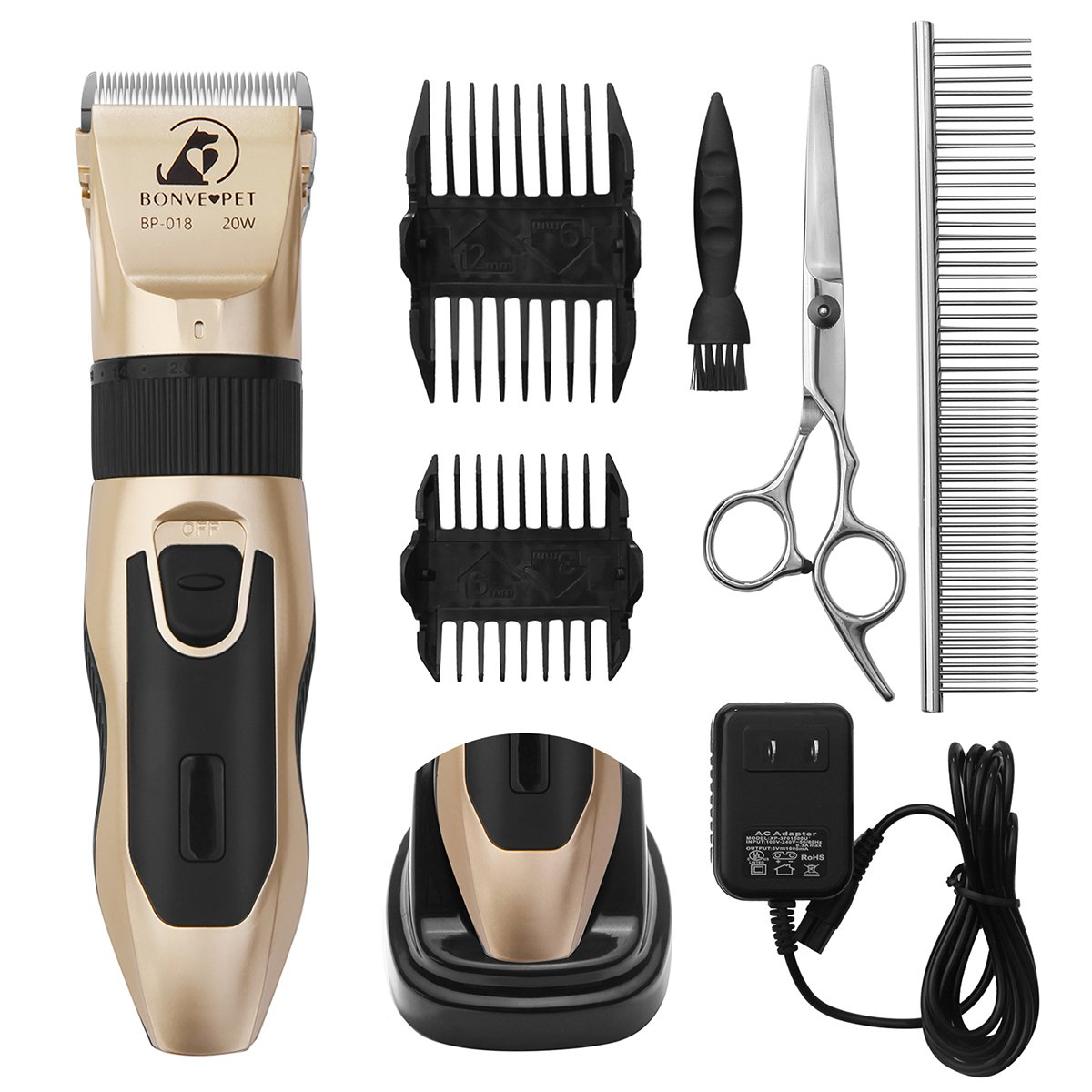 Dog Grooming Clippers - Cordless Quiet Pet Hair Clippers Trimmer Rechargeable with Stainless Steel Blades Dog Comb Shears Best Professional Hair Clipper Set for Dogs Cats Pets Long Short Hair,Gold