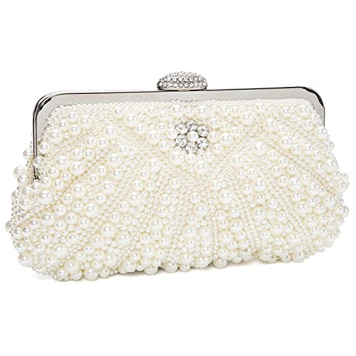 7c343a9b169 Image Unavailable. Image not available for. Color  LovelyPrice Womens Handmade  Pearl Bead Rhinestone Evening Clutch Bags For Wedding And Party