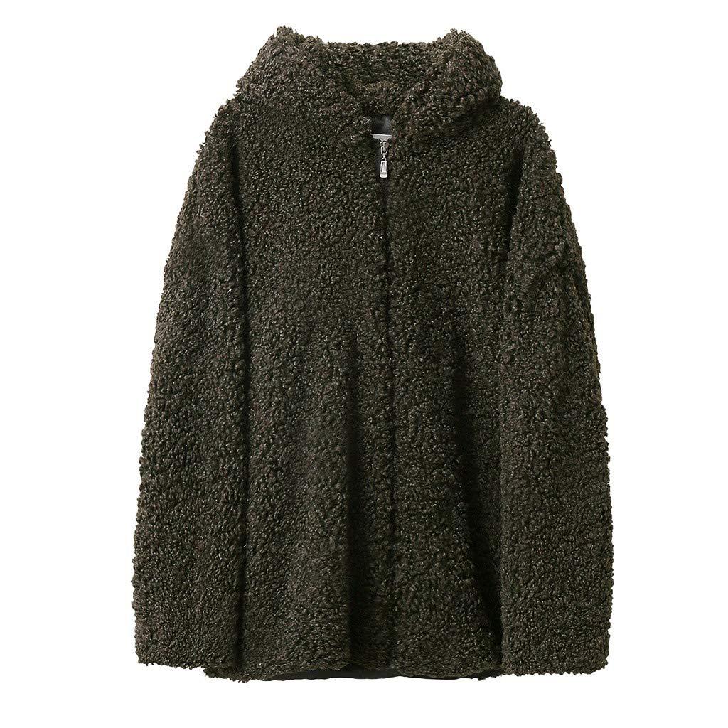 IEason Women Coat Autumn Winter Hooded Lamb Wool Loose Thin Outwear Army Green by IEason Women Coat