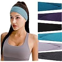 Hoofdbanden voor dames, 6 stuks, elastische haarbanden, brede haarband, voor yoga, workout, hardlopen, wandelen, make-up