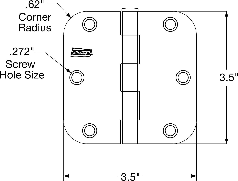 National Hardware N830-170 SPB512R5//8 Door Hinge in Antique Brass