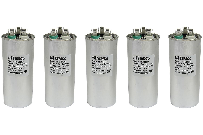 LOT OF 10 High Quality 50+7.5 uF MFD Dual Run Capacitor 370-440 V AC CBB65-R