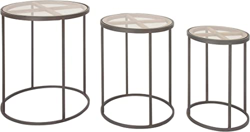 Deco 79 Metal and Wood Table, 18 x 20 x 22 , Black Clear Brown
