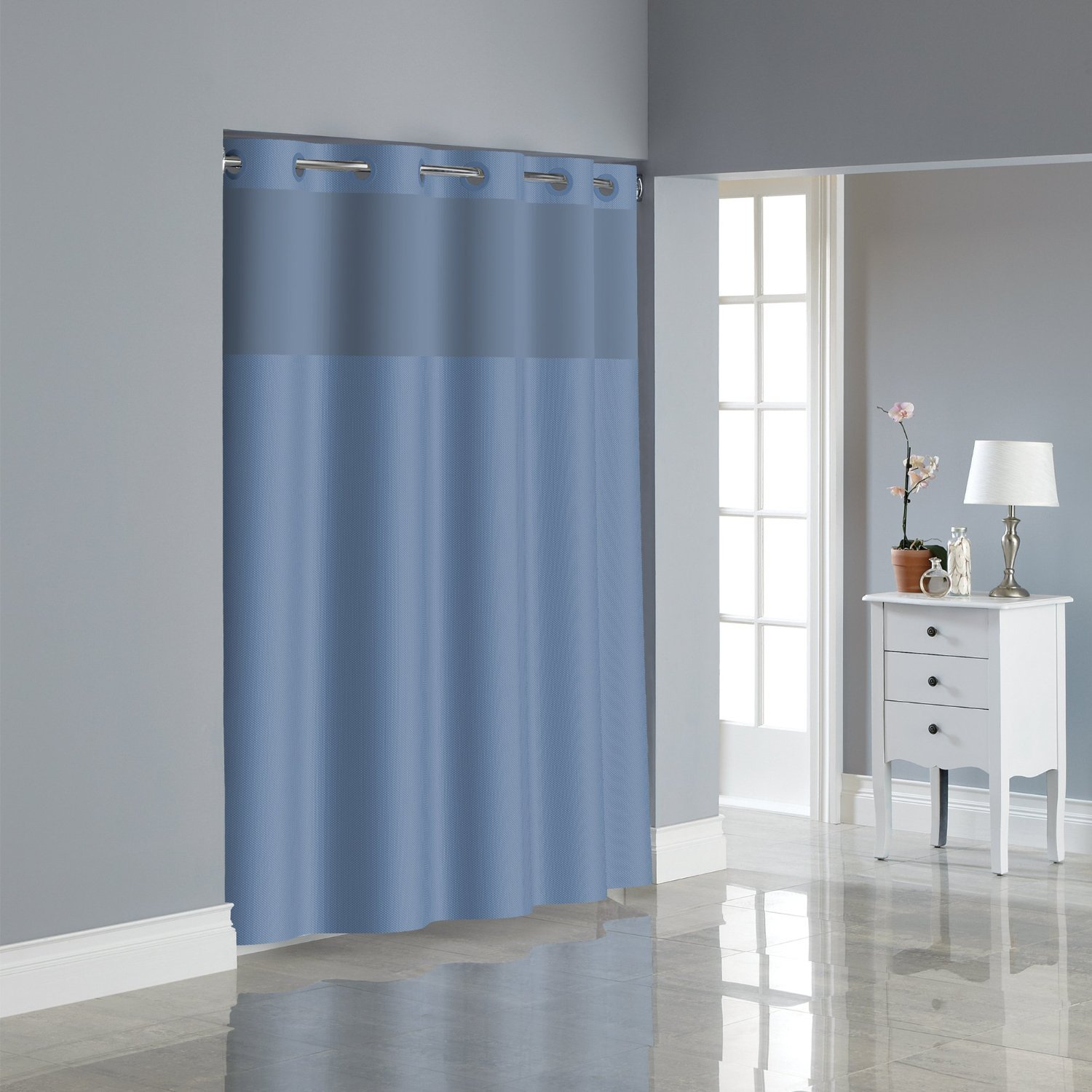 Amazon Hookless RBH80MY048 Fabric Shower Curtain With Built In PEVA Liner