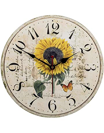 VieVogue Reloj de pared, Reloj de Pared de Cuarzo Estilo Toscano Vintage silencioso Retro Reloj