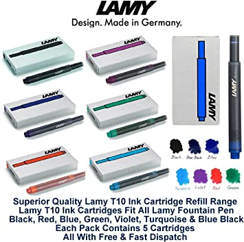 Lamy Fountain Pen Turquoise Ink Cartridge Refill T10 Pack of 5