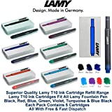 Lamy T10 Assorted Colour Pack Fountain Pen Ink Cartridges Refills Spare Replacement For All Lamy Fountian Pens (1 Pack Of Each Colour - 7 Packs - 35 Cartridges - Black, Red, Washable Blue, Green, Purple / Violet, Turquoise & Blue Black)