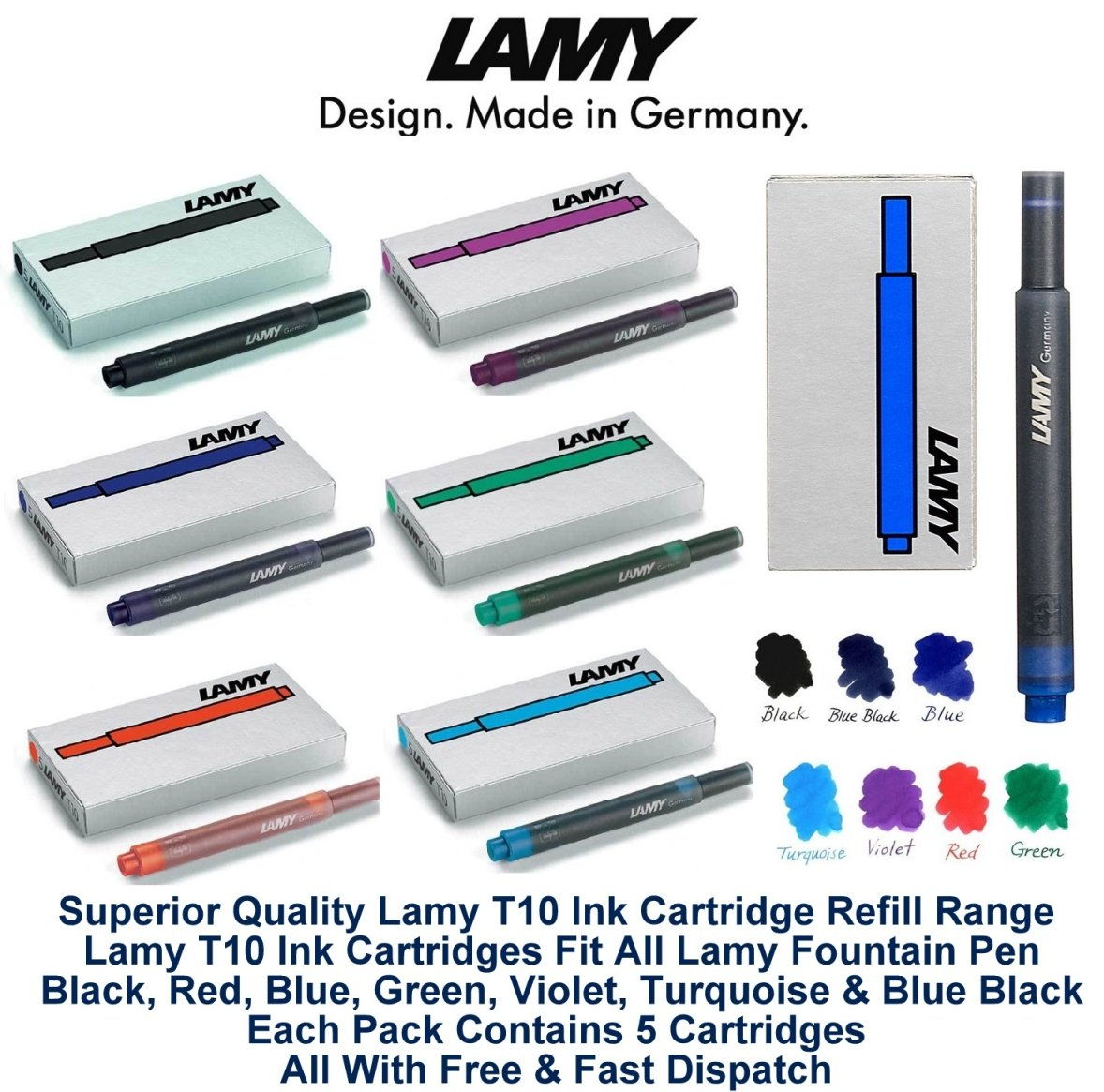 Lamy T10 Assorted Colour Pack Fountain Pen Ink Cartridges Refills Spare Replacement For All Lamy Fountian Pens (1 Pack Of Each Colour - 7 Packs - 35 Cartridges - Black, Red, Washable Blue, Green, Purp
