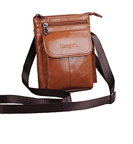 Amazon.com: Cell phone Crossbody Purse Premium Leather Men Bag ...