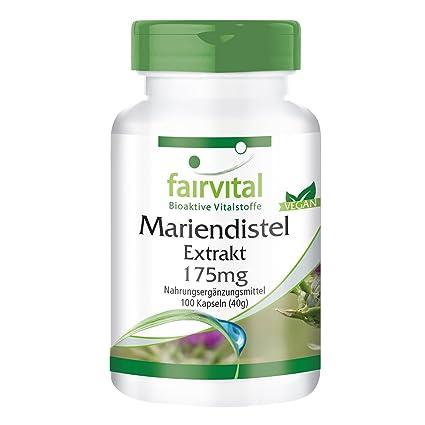 Extracto de Cardio Mariano 175mg - VEGANO - 100 cápsulas estandarizado al 80% de silimarina