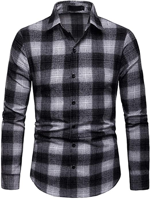 Mens Slim Fit Check Long Sleeve Shirt With Button Down Stand Collar Plaid Top