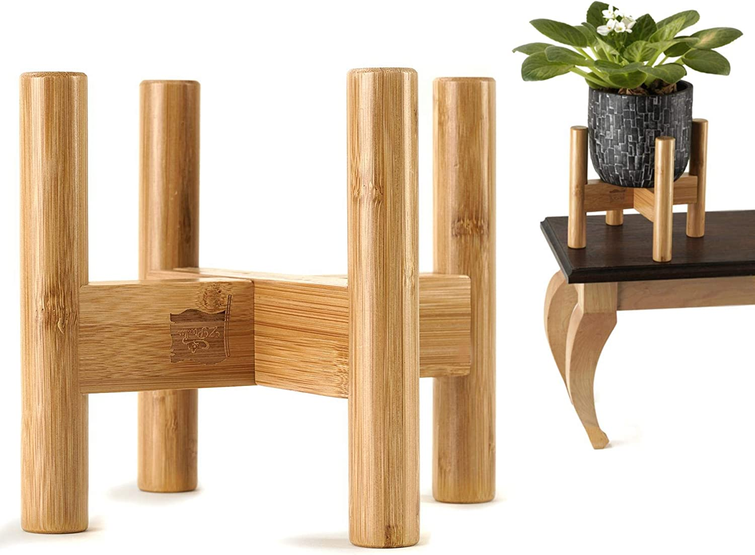Mini Plant Stand for Indoor Plants, Match Small Planter Pots Sizes 5-6 Inches, Bamboo Wood Holder for Desk, Table Top and Countertop Plants and Flowers