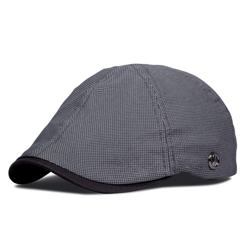 WETOO Unisex Cotton Flat Cap Duckbill Hat Newsboy Cabbies Cap Vintage Style Driving Hat for Mens Women 6 Panel Baker Boy Cap
