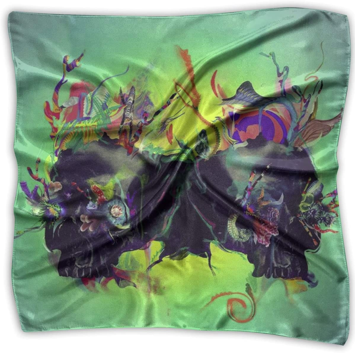 Bandana de seda, pañuelo de calavera de la muerte, hermosas diademas cuadradas para montar a caballo, senderismo, 100X100 CM