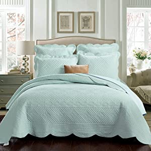 Calla Angel Sage Garden Luxury Pure Cotton Quilt, King, Light Aqua