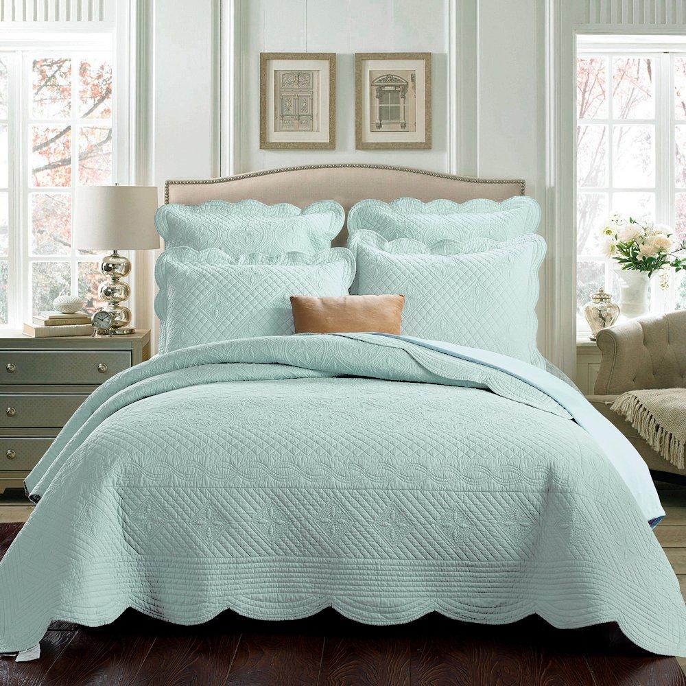 Calla Angel O4-Banu-XVKH Sage Garden Luxury Pure Cotton Quilt, 108'' x 95'', Light Aqua, King, by Calla Angel